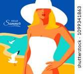 hello summer  holiday concept.... | Shutterstock .eps vector #1099341863