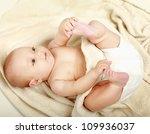 beautiful little boy lying on... | Shutterstock . vector #109936037