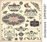 vector set of floral vintage...   Shutterstock .eps vector #109939187
