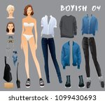 body template with outfits and... | Shutterstock .eps vector #1099430693
