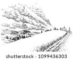 idyllic landscape sketch. small ...   Shutterstock .eps vector #1099436303