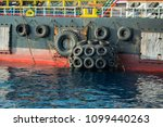 floating buoys at side boat. | Shutterstock . vector #1099440263