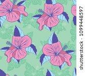 tropical flowers hibiscus... | Shutterstock .eps vector #1099448597