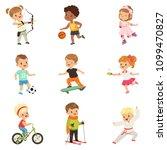 cute little children playing... | Shutterstock .eps vector #1099470827