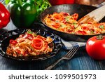 portion of frittata with eggs ... | Shutterstock . vector #1099501973