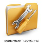 Folder with tool. 3D computer icon isolated on white - stock photo
