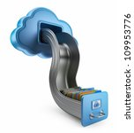 File storage in cloud. 3D computer icon isolated on white - stock photo