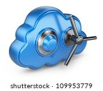 Cloud and lock. Secure concept. 3D Icon isolated - stock photo