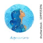 Illustration of aquarius zodiac sign as a beautiful girl - stock photo