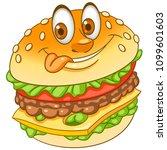 burger. hamburger. cheeseburger.... | Shutterstock .eps vector #1099601603