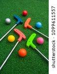 assorted colors of mini golf... | Shutterstock . vector #1099611557
