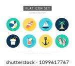 summer flat vector icon set | Shutterstock .eps vector #1099617767