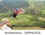 jump off a cliff with a rope. | Shutterstock . vector #109962923