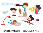 set of school kids in education ... | Shutterstock .eps vector #1099665713