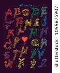 artistic alphabet with... | Shutterstock .eps vector #1099675907