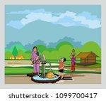 village with hand pump | Shutterstock .eps vector #1099700417
