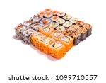 japanese food. different rolls... | Shutterstock . vector #1099710557