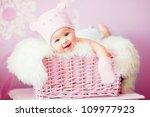 newborn baby girl in pink... | Shutterstock . vector #109977923