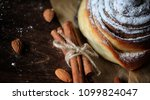 pie with cinnamon and apples on ...   Shutterstock . vector #1099824047