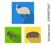different animals flat icons in ... | Shutterstock . vector #1099837067
