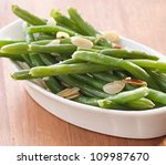 green beans almondine closeup - stock photo