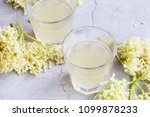 elderflower lemonade drinks ... | Shutterstock . vector #1099878233