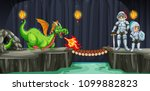 knights fight with dragon in... | Shutterstock .eps vector #1099882823