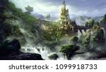 castle mountain with fantastic  ... | Shutterstock . vector #1099918733
