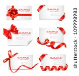 Set Of Card Notes With Red...