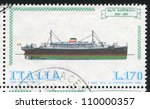 italy   circa 1977  stamp... | Shutterstock . vector #110000357