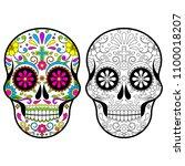 mexican sugar skulls  day of... | Shutterstock .eps vector #1100018207
