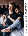 the lovely couple in love... | Shutterstock . vector #1100027153
