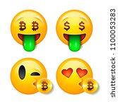 bitcoin smiley emoticon. yellow ... | Shutterstock .eps vector #1100053283