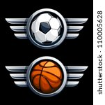 Basketball and soccer balls in metal circles with wings. Vector illustration. - stock vector