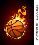 Burning basketball. Vector illustration. - stock vector