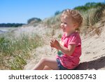 little  girl l at the beach... | Shutterstock . vector #1100085743