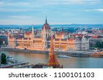 view to parliament on danube... | Shutterstock . vector #1100101103