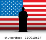 United States of America  Speech Tribune Silhouette with Flag Background - stock photo