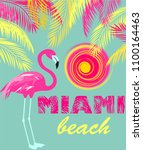 mint color poster with miami... | Shutterstock .eps vector #1100164463