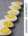 Small photo of Hard Half Boiled Eggs, Sliced in Halves Food Ingredient Preparation Gray Textured