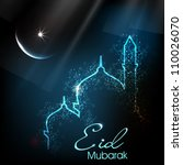 Beautiful greeting card for Eid Mubarak festival with shiny Mosque and Masjid image. EPS 10. - stock vector