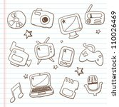 Multimedia icons-doodles - stock vector