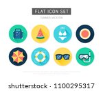 summer flat vector icon set | Shutterstock .eps vector #1100295317
