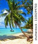 day on a beach in bora bora   Shutterstock . vector #1100299703