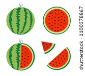 watermelon icon set. whole ripe ... | Shutterstock .eps vector #1100378867