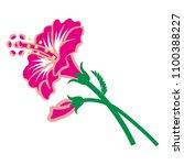 hibiscus flower clip art | Shutterstock .eps vector #1100388227