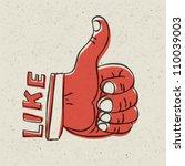thumb up symbol. retro styled...
