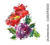 vintage vector floral... | Shutterstock .eps vector #1100393033