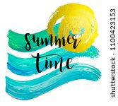 watercolor summer time hand... | Shutterstock .eps vector #1100423153