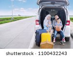 happy family ready for a road... | Shutterstock . vector #1100432243
